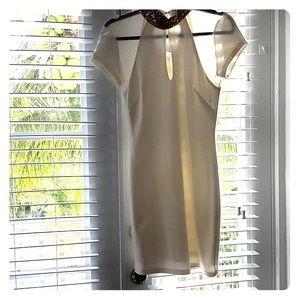 Bebe white mini dress with gold jewels choker